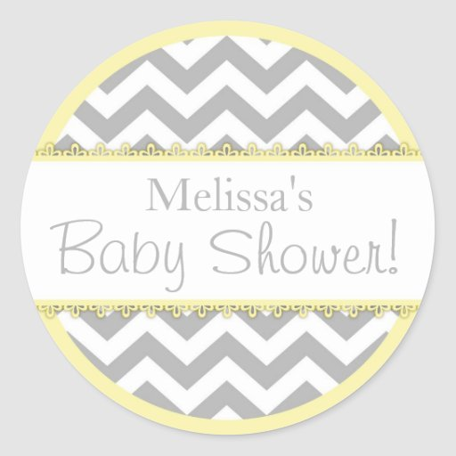 Chevron Print & Yellow Contrast Baby Shower Round Stickers