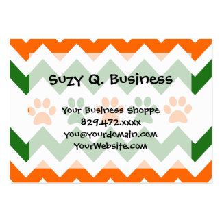 Chevron Puppy Paw Prints Orange Lime Dog Lover Pack Of Chubby Business Cards