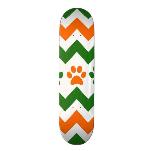 Chevron Puppy Paw Prints Orange Lime Dog Lover Skateboard Decks