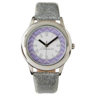 Chevron purple and grey print name wrist watch