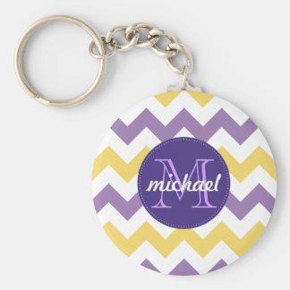 Chevron Purple Yellow Monogrammed Circle Stitches Basic Round Button Key Ring