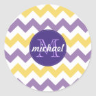 Chevron Purple Yellow Monogrammed Circle Stitches Classic Round Sticker