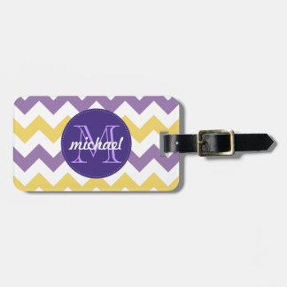 Chevron Purple Yellow Monogrammed Circle Stitches Luggage Tag