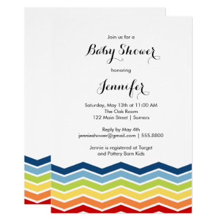 Chevron Rainbow Baby Shower Invitation-Boy or Girl Card