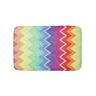 Chevron rainbow colors textured multicolor design bath mats