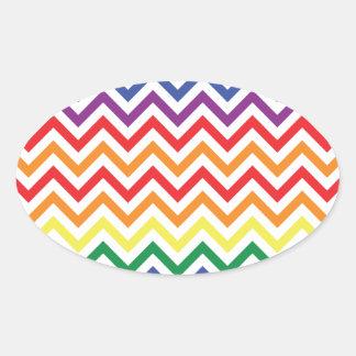 Chevron Rainbow Oval Sticker