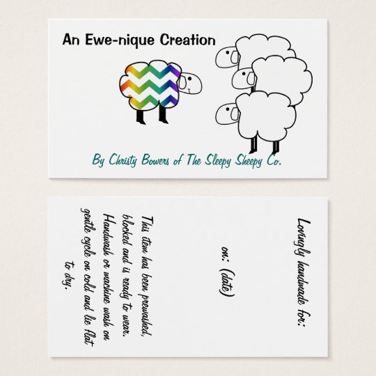 Chevron Rainbow Sheep Hang Tag and Business Card