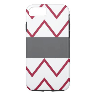 chevron red and gray add your text iPhone 7 case