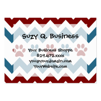 Chevron Red Blue Puppy Paw Prints Dog Lover Gifts Large Business Cards (Pack Of 100)
