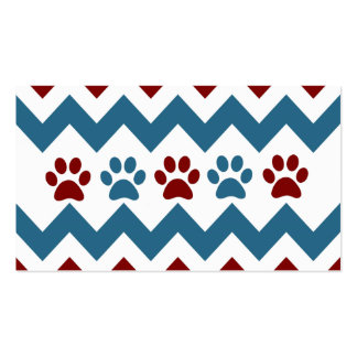 Chevron Red Blue Puppy Paw Prints Dog Lover Gifts Business Cards