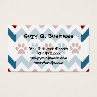 Chevron Red Blue Puppy Paw Prints Dog Lover Gifts Business Card