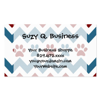 Chevron Red Blue Puppy Paw Prints Dog Lover Gifts Pack Of Standard Business Cards