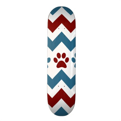 Chevron Red Blue Puppy Paw Prints Dog Lover Gifts Skateboard