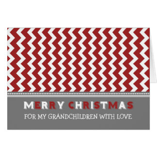 Chevron Red Grandchildren Merry Christmas Card