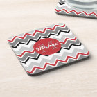 Chevron Red Grey Black Monogrammed Circle Stitches Coaster