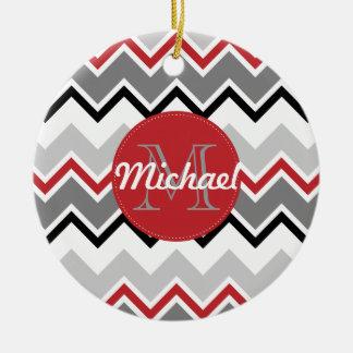 Chevron Red Grey Black Monogrammed Circle Stitches Christmas Ornaments