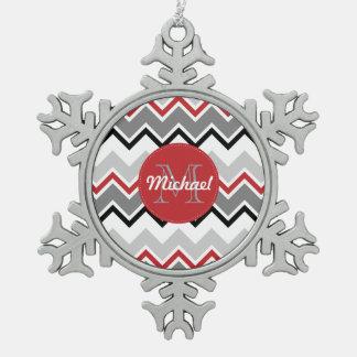 Chevron Red Grey Black Monogrammed Circle Stitches Pewter Snowflake Decoration