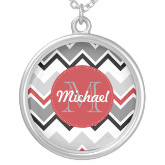 Chevron Red Grey Black Monogrammed Circle Stitches Silver Plated Necklace