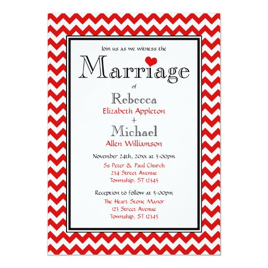 Chevron Red & White Wedding Invitations