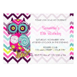 Chevron Retro Groovy Owl Birthday Party Invitation