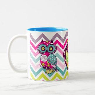 Chevron Retro Groovy Owls Two-Tone Mug