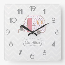 Chevron Retro Vintage Caravan Design Square Wall Clock