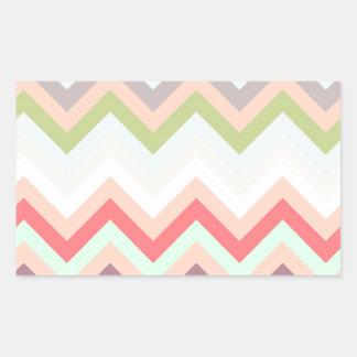 Chevron rosado celeste y pasteles zigzag pegatina