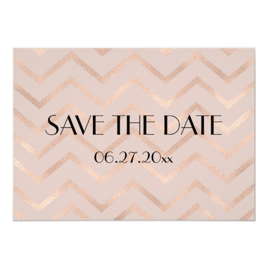 Chevron Rose Gold Wedding Save The Date Card
