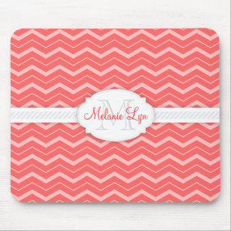 Chevron (Salmon) Custom Monogram and Name Mouse Pad
