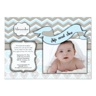 Chevron Sip And See New Baby Boy Photo Template Card