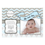Chevron Sip And See New Baby Boy Photo Template Personalised Invites