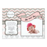 Chevron Sip And See New Baby Girl Photo Template 13 Cm X 18 Cm Invitation Card