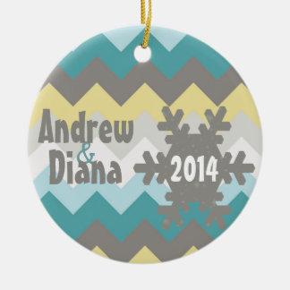 Chevron Snowflake Personalized Ornament