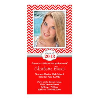 Chevron Stripe Graduation Invitation Class of 2013 Personalised Photo Card