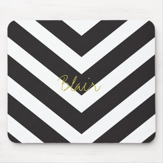 Chevron Stripe Personalised Chic Mouse Pad