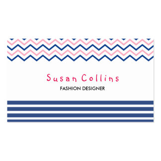Chevron Striped Clean Fashion Blue Simple Pack Of Standard Business Cards