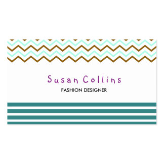 Chevron Striped Clean Fashion Green Simple Business Cards