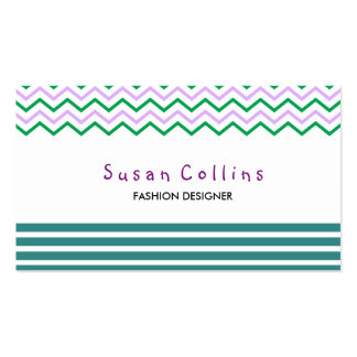 Chevron Striped Clean Fashion Green Simple Double-Sided Standard Business Cards (Pack Of 100)