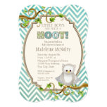 Chevron Striped Hoot Owl Little Boys Baby Shower 13 Cm X 18 Cm Invitation Card