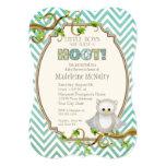 Chevron Striped Hoot Owl Little Boys Baby Shower 13 Cm X 18 Cm Invitation Card