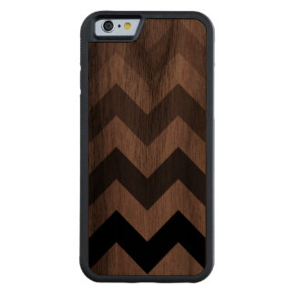 chevron stripes carved walnut iPhone 6 bumper case