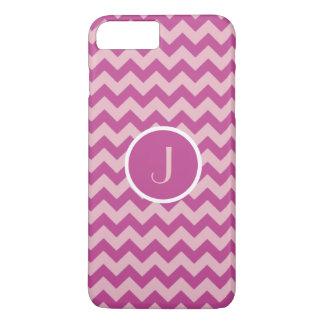 Chevron Stripes Fuchsia Raspberry Pattern Monogram iPhone 7 Plus Case