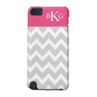Chevron Stripes & Monogram | Grey Hot Pink iPod Touch (5th Generation) Covers