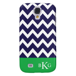 Chevron Stripes & Monogram | Navy Apple Green Galaxy S4 Case