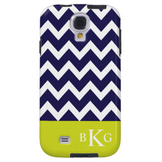 Chevron Stripes & Monogram | Navy Lime Green Galaxy S4 Case