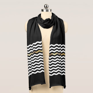Chevron Stripes with Gold Accent Scarf