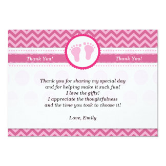 Chevron Thank You Card Baby Girl Shower Pink 13 Cm X 18 Cm Invitation Card
