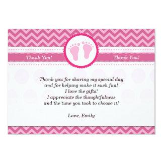 Chevron Thank You Card Baby Girl Shower Pink 13 Cm X 18 Cm Invitation Card