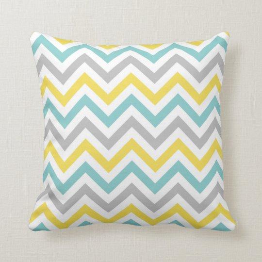 Chevron Throw Pillow   {Aqua, Sunshine & Grey}