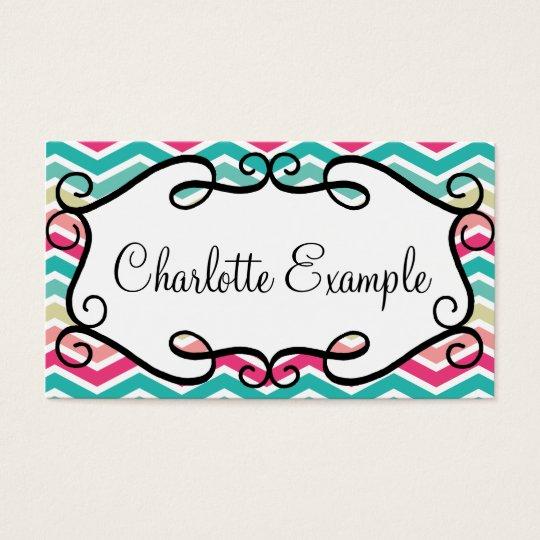 Chevron Turquoise Pink Custom Business Card